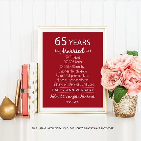 65e Verjaardag Cadeau Voor Ouders Haar Vrouwen Mannen Vrouw Hem Echtgenoot Moeder Papa Paar 65e Verjaardag Huwelijksgeschenk 65 Jaar Huwelijk