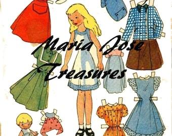 """Vintage little Amy from """"Little Women"""" Paper Dolls - Digital Download"""