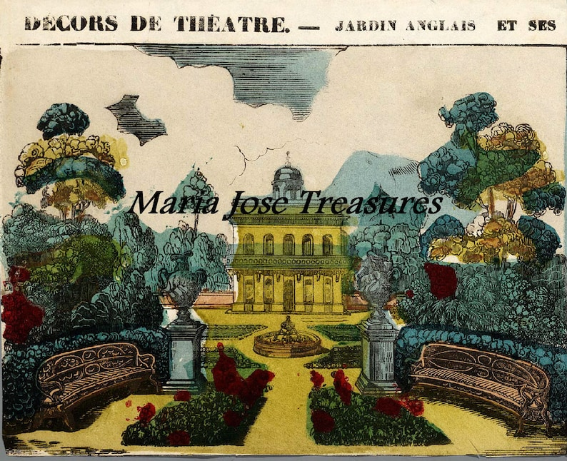 Vintage Reproduction Theater Background Paper Model Cut Outs Etsy