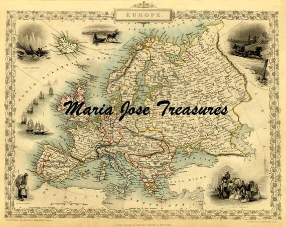 Archiwalne Mapy Europy Digital Download Etsy
