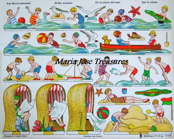 Poupées en papier nautique Vintage plage - téléchargement numérique