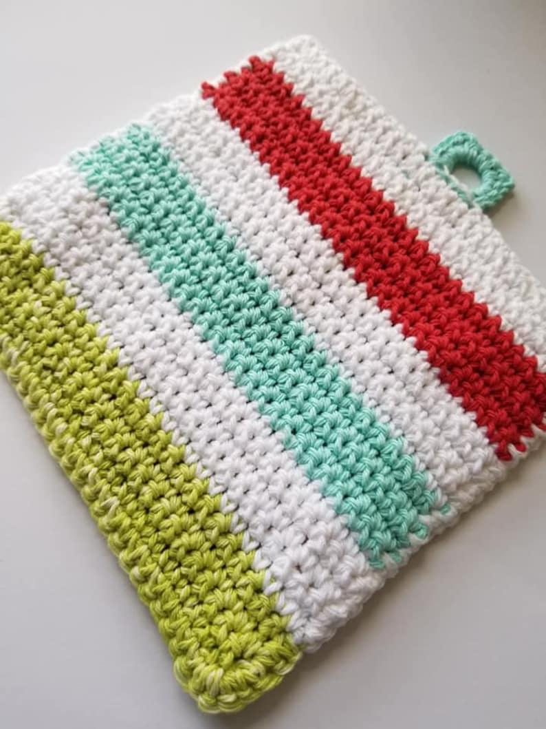 Home Sweet Home Crochet Potholder Ready to Ship Hotpad Vintage Potholder Trivet