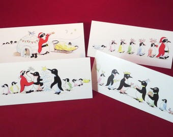 4 Pack - Fun Penguin Christmas Cards