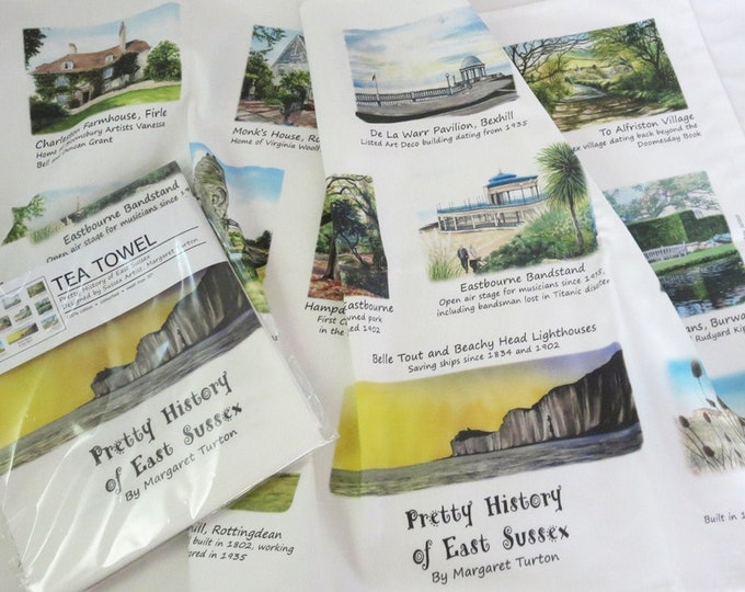 Featured listing image: Pretty History of East Sussex Tea Towel