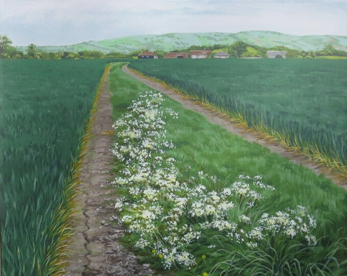 Featured listing image: Farm Path, acrylic painting on canvas