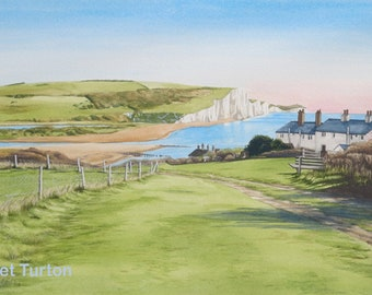 Coastguard Cottages and Seven Sisters, mounted and signed by artist