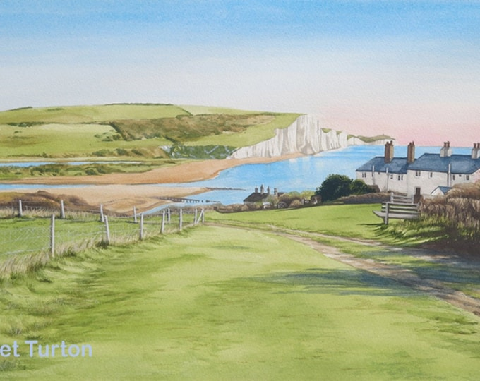 Featured listing image: Coastguard Cottages and Seven Sisters, mounted and signed by artist