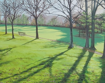 Summer Shadows in the Park, acrylic painting on canvas