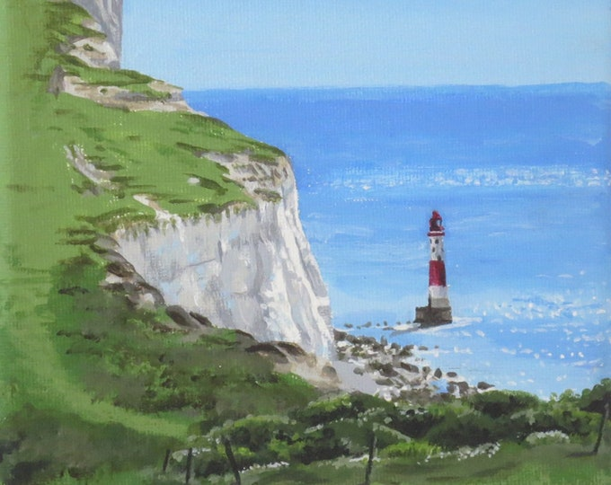 Featured listing image: View of Beachy Head Lighthouse, acrylic painting on canvas
