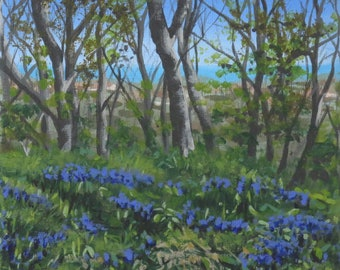 View Over Bluebells, acrylic painting on canvas