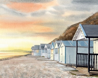Beach Huts at Sunset, watercolour painting