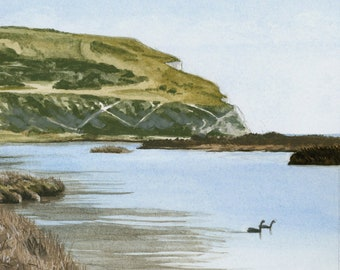 Calm Waters, Cuckmere Haven, mounted print signed