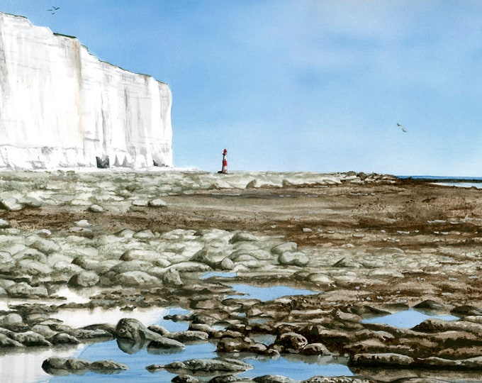 Featured listing image: Lighthouse at Low Tide Print, mounted and signed by artist