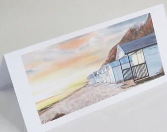 Beach Huts at Sunset Greetings Card