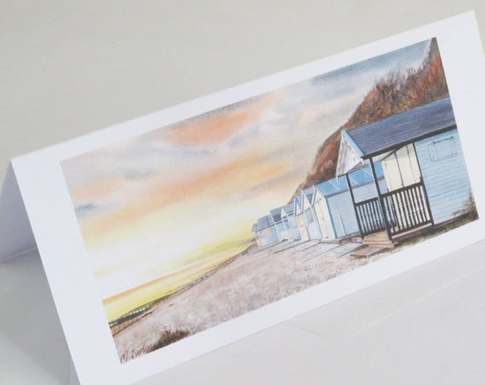 Featured listing image: Beach Huts at Sunset Greetings Card