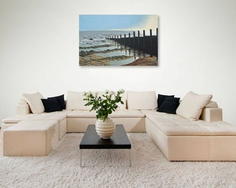 Gentle Shore, along a Breakwater, acrylic painting on canvas