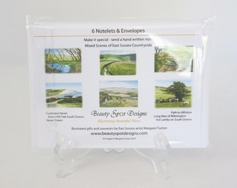 Notelets, Sussex Countryside Set, pack of 6