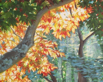 Summer Sunbeams Through the Trees, acrylic painting on canvas