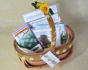 Springtime Gift Basket, stationery and chocolate
