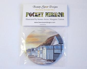 Beach Huts Pocket Mirror