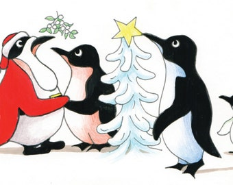 Tree and Mistletoe, Penguin Christmas Cards