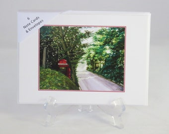 Pack of 6 Old Red Phone Box Note Cards