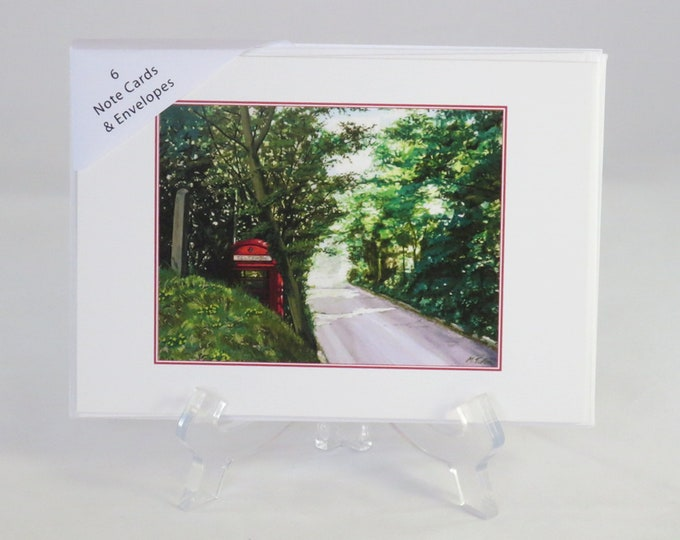 Featured listing image: Pack of 6 Old Red Phone Box Note Cards