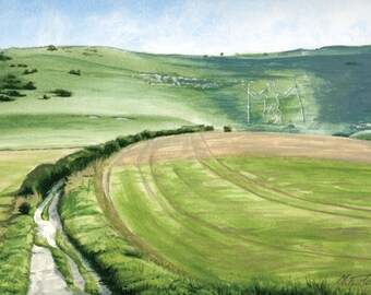 Chalk Road to Long Man of Wilmington, mounted print signed