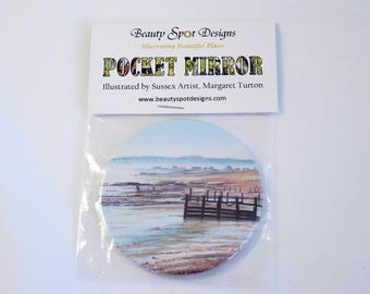 Misty Beach Pocket Mirror