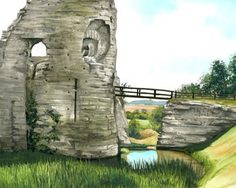 Pevensey Castle, mounted print signed by artist