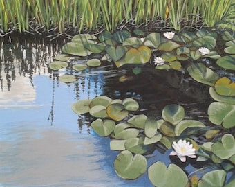White Lilies under Blue Sky, acrylic painting on canvas