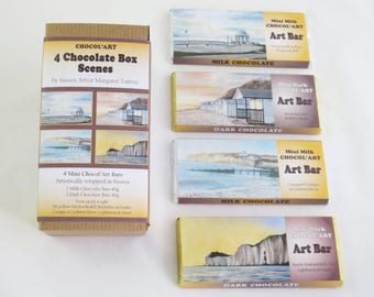 Chocolate Box of 4x40g Bars, Set 2 Chocol'Art designs