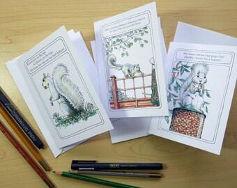 Slim-line Squirrel Birthday Cards, Set 2 choose from 3 designs