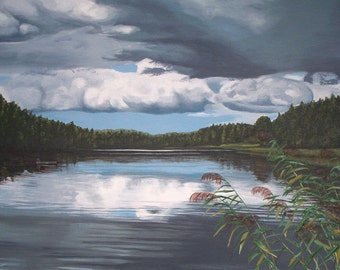 Dark Clouds Over Lake, acrylic painting on canvas