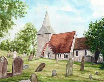 Berwick Church in Sussex, watercolour painting