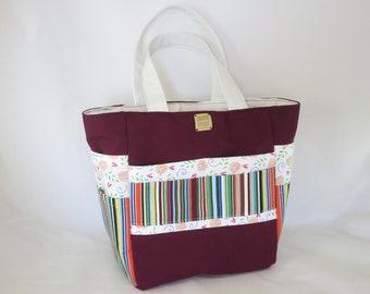 Art and Crafts Holdall Bag, Maroon Stripes, Creative Spirit