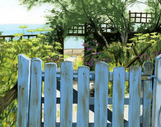 Featured listing image: Cottage Garden by the Sea, mounted print signed