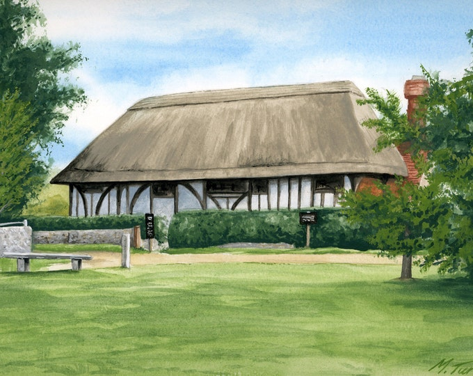 Featured listing image: Alfriston Clergy House in Sussex, watercolour painting