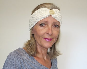 Summer Cable Knit Headband, hand knitted