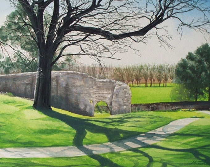 Featured listing image: Shadows Over Lewes Priory, watercolour painting