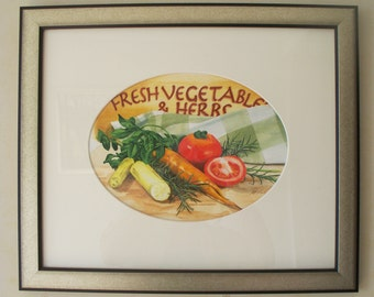 Fresh Vegetables & Herbs, original watercolour painting