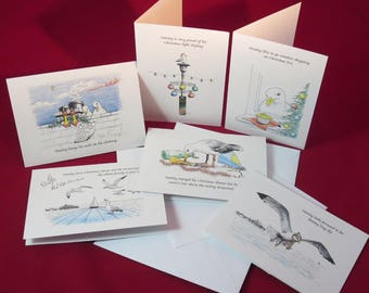 6 Pack - Stanley Seagull Christmas Cards