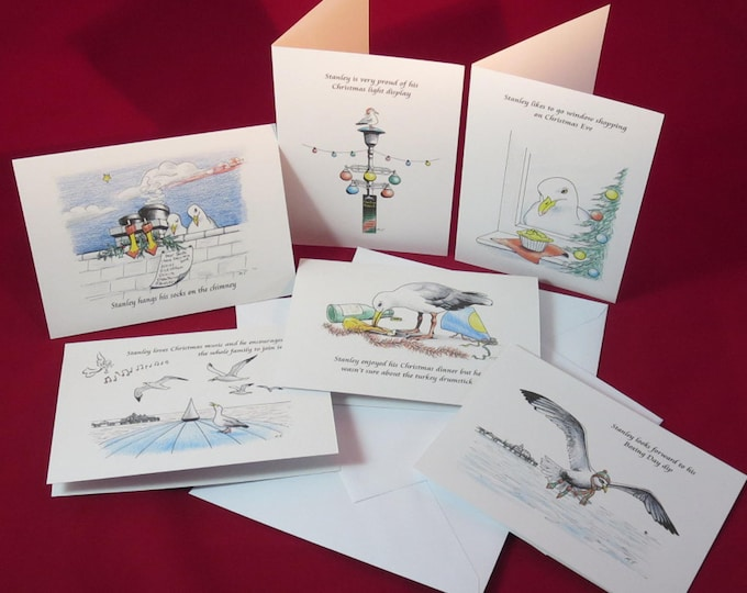 Featured listing image: 6 Pack - Stanley Seagull Christmas Cards