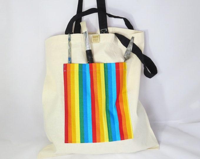 Featured listing image: Artist's Tote Bag, Rainbow Stripes, Creative Spirit