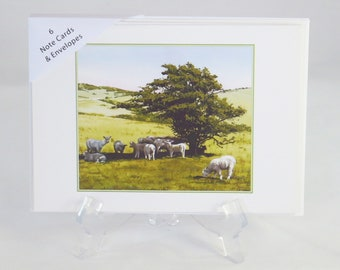 Pack of 6 Hot Lambs on South Downs Note Cards