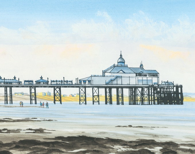 Featured listing image: Eastbourne Pier Looking East, mounted print signed