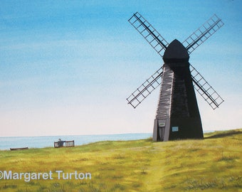 Rottingdean Windmill Print, mounted and signed by artist