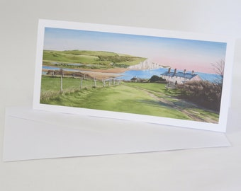 Coastguard Cottages and Seven Sisters Greetings Card