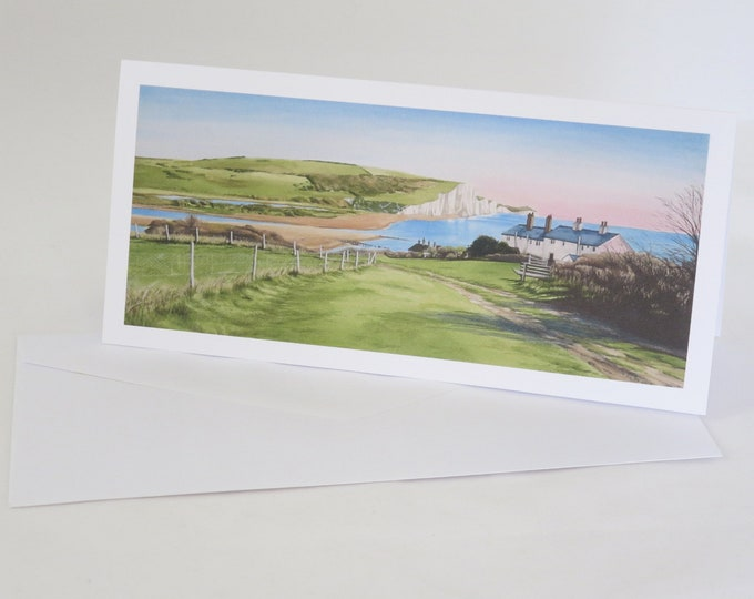 Featured listing image: Coastguard Cottages and Seven Sisters Greetings Card