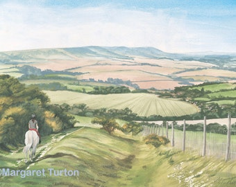 Downhill Trek, South Downs, mounted and signed print